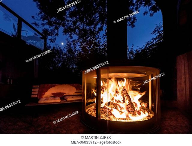 Fireplace and barbecue at a summer night, Germany, Allgäu, Bavaria