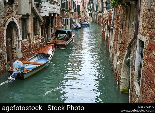 Old buildings in Venice across Rio dei Scudi e de S. Ternita. Sestiere Castello. Venezia. Veneto. Italy