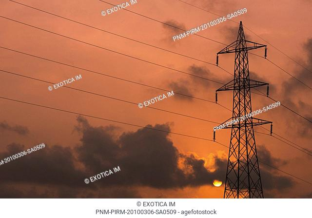 Low angle view of an electricity pylon, Alleppey, Alappuzha District, Kerala, India