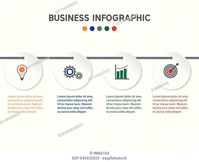 Vector infographic template with 3D paper label, integrated circles. Business concept with options. For content, diagram, flowchart, steps, parts