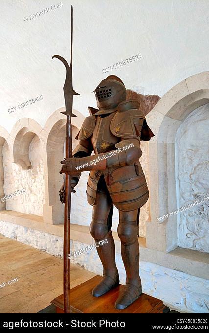 Miskolc, Hungary, May 29, 2019: Powerful heavy knight with a sword and helmet