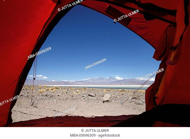 Chile, national park Nevado Tres Cruzes, Laguna Santa Rose, view from the tent