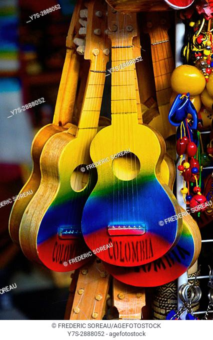 Colorful guitar for sale , Souvenir shop in Bogota,Colombia