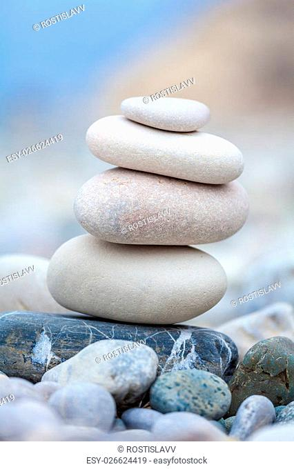 Pyramid of stones on Cyprus beach
