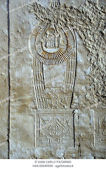 Luxor, Egypt, tomb of Kheruef Sena'a( TT192) in the Nobles Tombs in Asasif necropolis: beautiful reliefs with a necklace of the New Kingdom