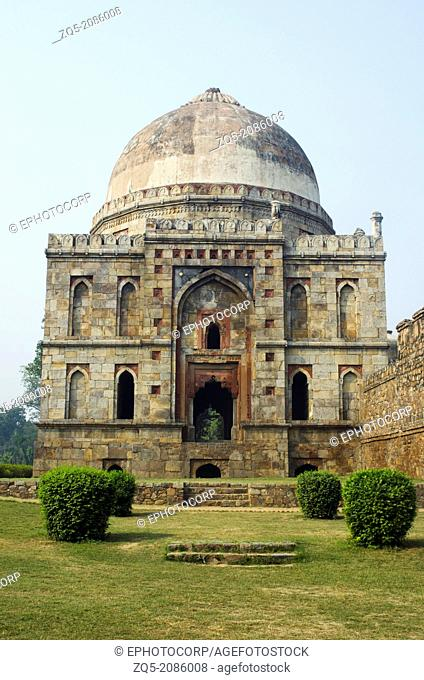 South facade of Bara Gumbad (separate entrance to the mosque complex). Dated: Lodi period, 1494 A.D. Delhi, India