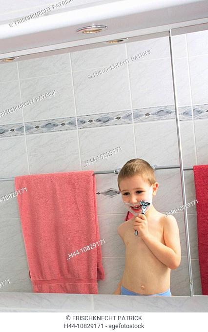 boy, toddler, infant, child, boy, play, game, play, games, imitating, copying, shaving, body care, care, maintenance