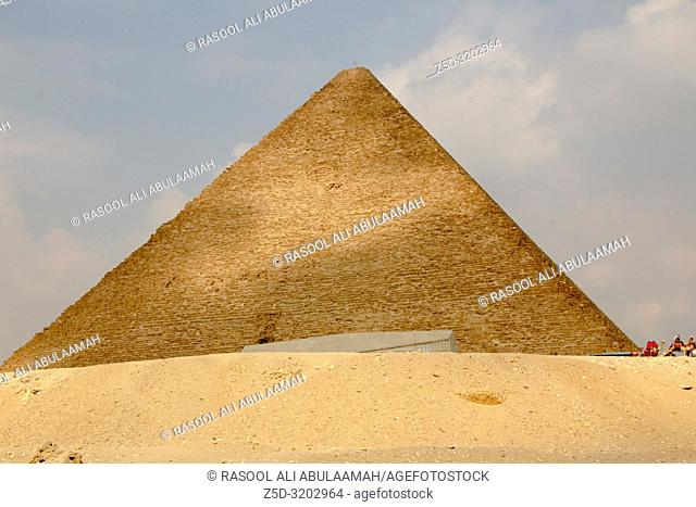 Cairo, Egypt – November 12, 2018: photo for Pyramid of munqarie in the Pyramids of Giza in Cairo city capital of Egypt