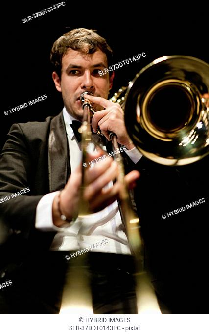 Trombone player in orchestra