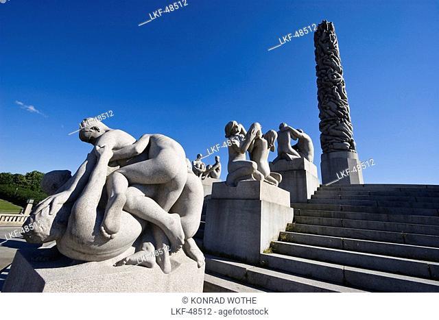 Monolith Plateau, granite sculptures by Gustav Vigeland in Vigeland Park, Oslo, Norway