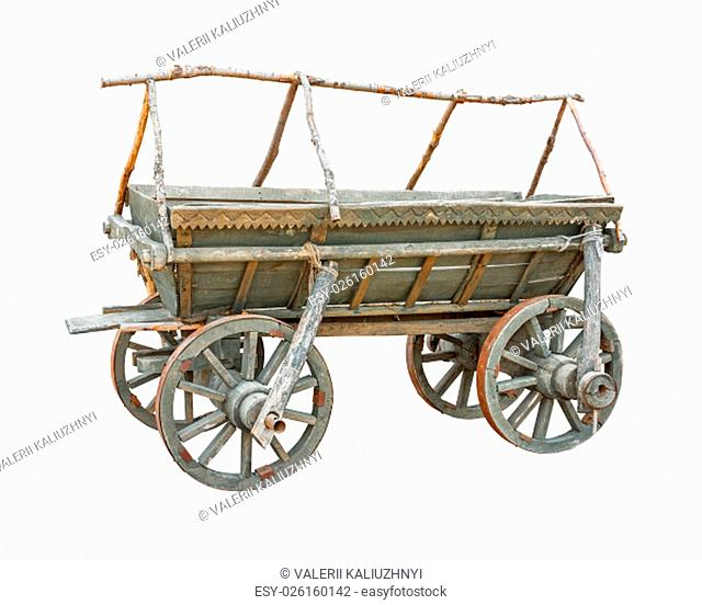 Old wooden cart isolated on white background with clipping path