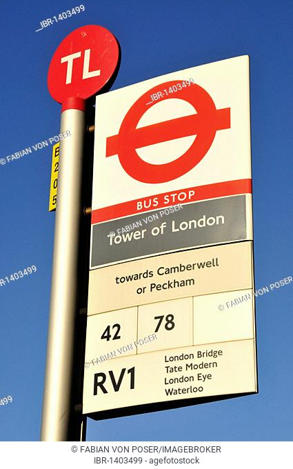 Sign at the bus station of the Tower of London, London, England, United Kingdom, Europe