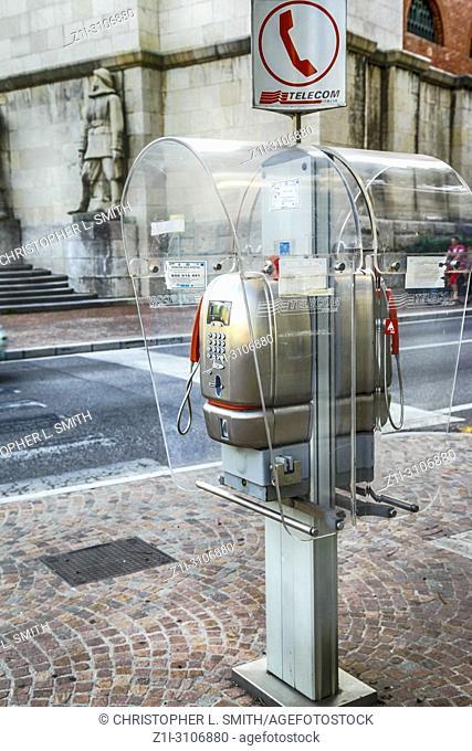 Public telephone on the corner of Viale del Ledra in Udine, Italy