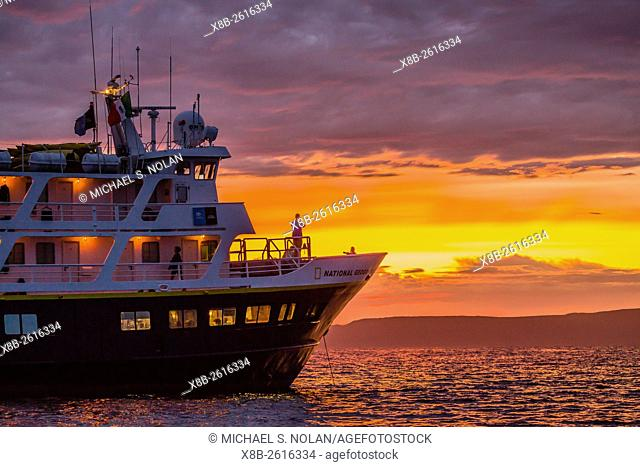 The Lindblad Expeditions ship National Geographic Sea Lion at sunset off Isla Ildefonso, Baja California Sur, Mexico