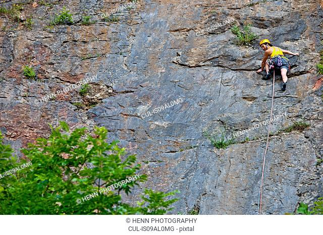 Female climber, leading The Tory at Fairy Cave Quarry