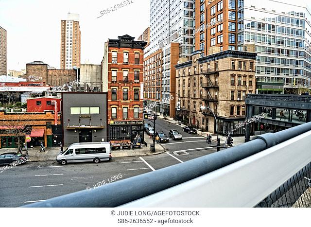 Looking down at the Intersection of 10th Avenue and West 19th Street, from the Highline Park, NYC
