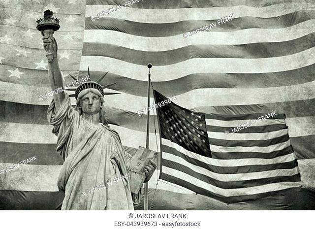 Collage of Lady Liberty and waving American flag in the background. Edited as a vintage photo in tension green hue color