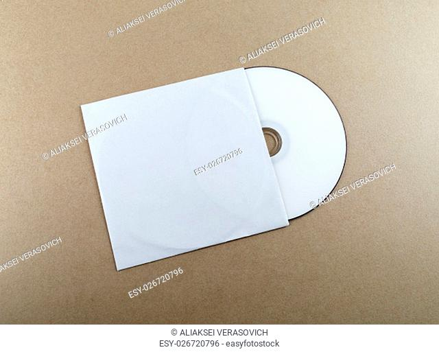 Compact disk on a table. Template for branding identity for designers