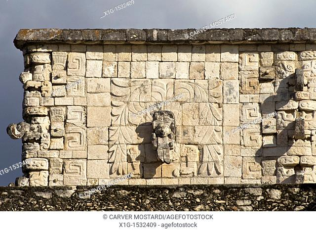 Detail of The Templo de los Guerreros Temple of the Warriors with image of Quetzalcoatl in Chichen Itza, Mexco