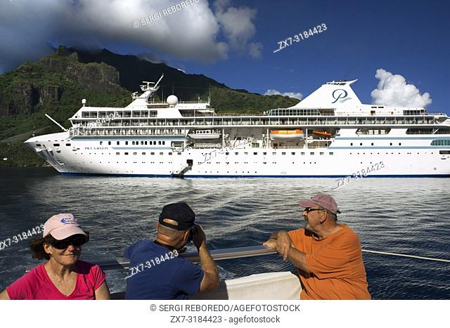 Guests of Paul Gauguin cruise anchored in Moorea, Cook's Capitan Bay, French Polynesia, Society Islands, South Pacific