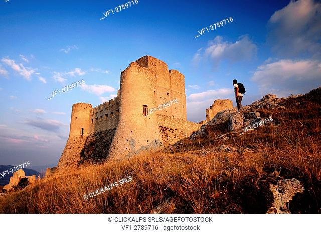 Ancient Medieval castle of Rocca Calascio at sunset, l'Aquila district, Abruzzo, Italy