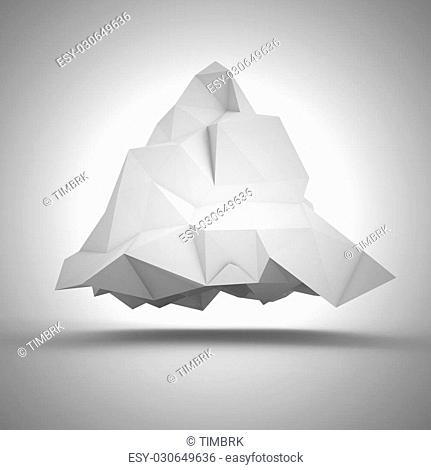 Geometric abstraction - big white crumpled pyramid