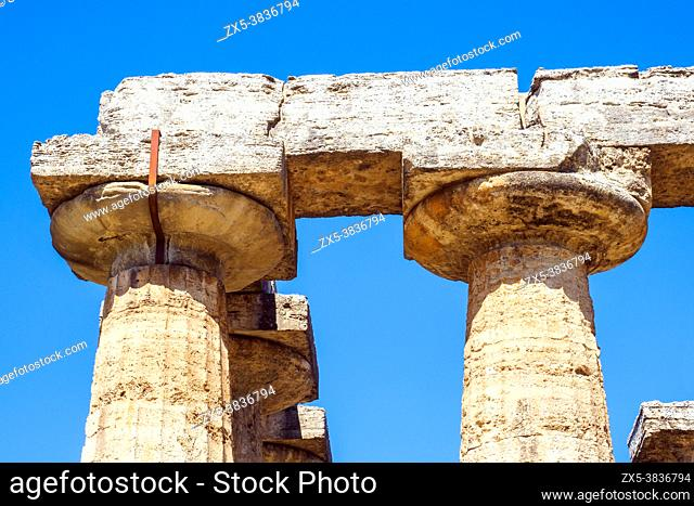 Detail of the Greek doric style temple of Hera (archaic temple) - Archaeological Area of Paestum - Salerno, Italy