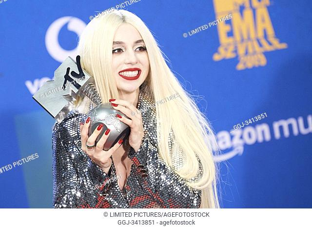 Ava Max attends 2019 MTV Europe Music Awards (EMAs) - Winners Room at FIBES Conference and Exhibition Centre on November 3, 2019 in Sevilla, Spain