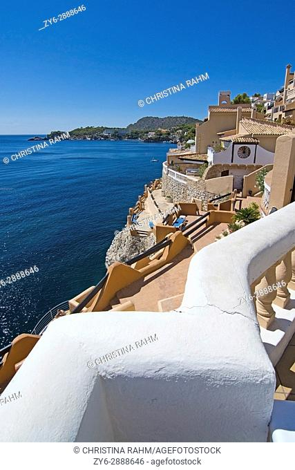 Ocean view and buildings in the Gran Tortuga restaurant in Cala Fornells, Mallorca, Spain