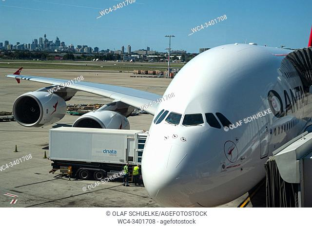 28. 09. 2019, Sydney, New South Wales, Australia - A Qantas Airbus A380-800 passenger plane is parked at a gate at Kingsford Smith International Airport