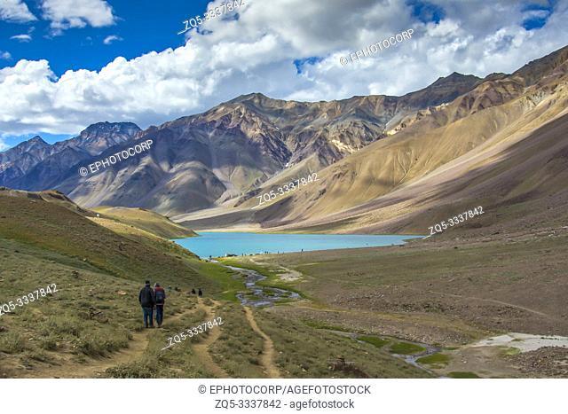 SPITI, INDIA, July 2016, Trekkers at Chandra Taal or Chandra Tal lake