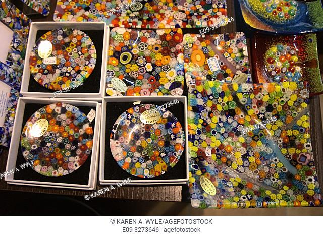 dishes of Murano glass, shop window in Venice, Italy