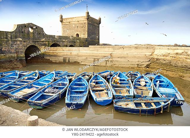 Blue fishing boats in the harbour of Essaouira, Morocco Morocco, Africa