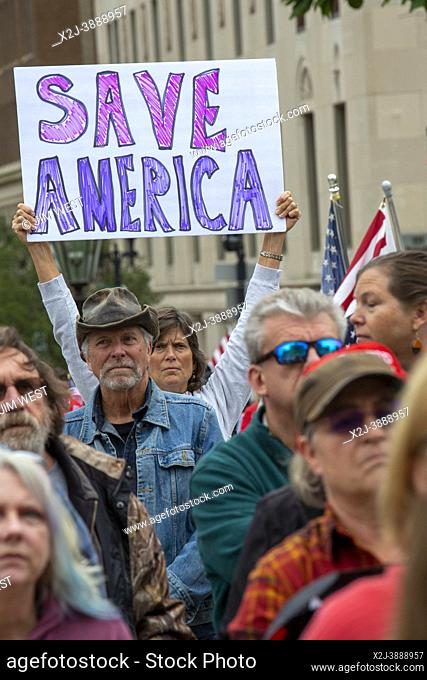 """Lansing, Michigan USA - 12 October 2021 - A rally at the Michigan State Capitol demands a """"""""forensic audit"""""""" of the 2020 presidential election results"""