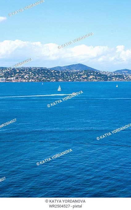 Cannes and La Napoule panoramic sea bay view