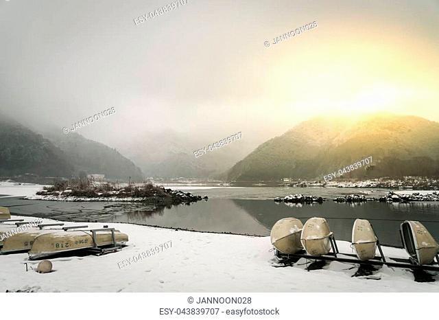 Lake Shoji Japan. view of beautiful white winter