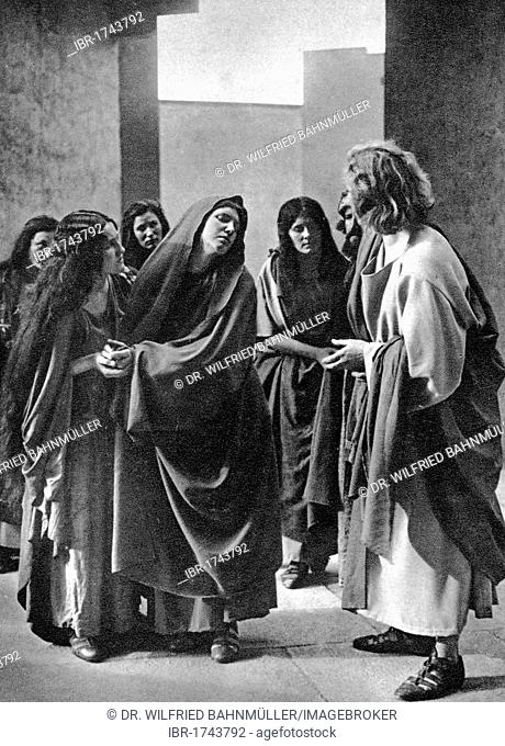 Way of the Cross, Meeting of Mother and Son, black and white postcard, Passion Play Oberammergau 1930, Upper Bavaria, Germany, Europe