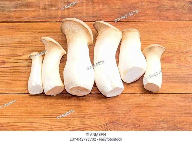 Several fresh cultivated Eringi mushrooms, also known as king oyster mushroom, king trumpet mushroom or boletus of the steppes, on the rustic wooden surface