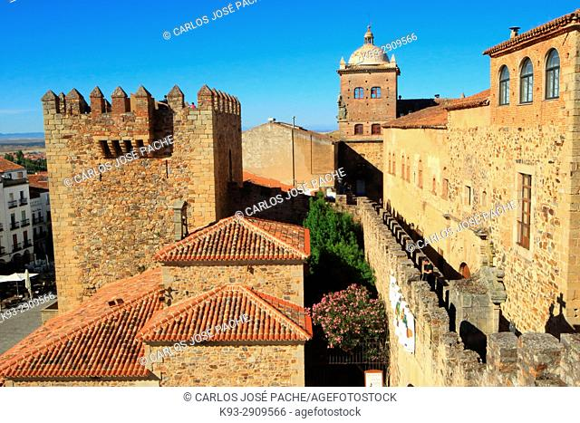 City Wall, Episcopal Palace and Bujaco Tower in the old town of Caceres, Extremadura, Spain