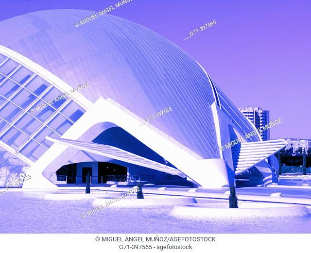 Hemisferic (planetarium and cinema), City of Arts and Sciences, by S. Calatrava. Valencia. Spain
