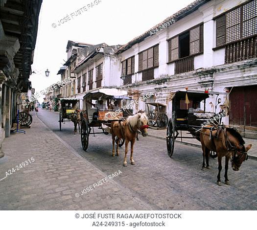Calesas, horse drawn carriages. Mestizo District. Vigan. Northen Luzon. Philippines