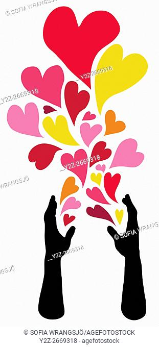Caring hands spreading hearts of love