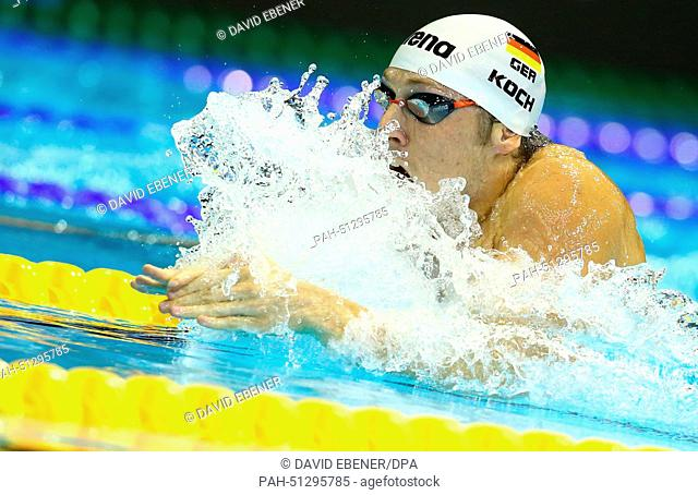Marco Koch of Germany competes in the men's 200m Breaststroke Finals at the 32nd LEN European Swimming Championships 2014 at the Velodrom in Berlin, Germany
