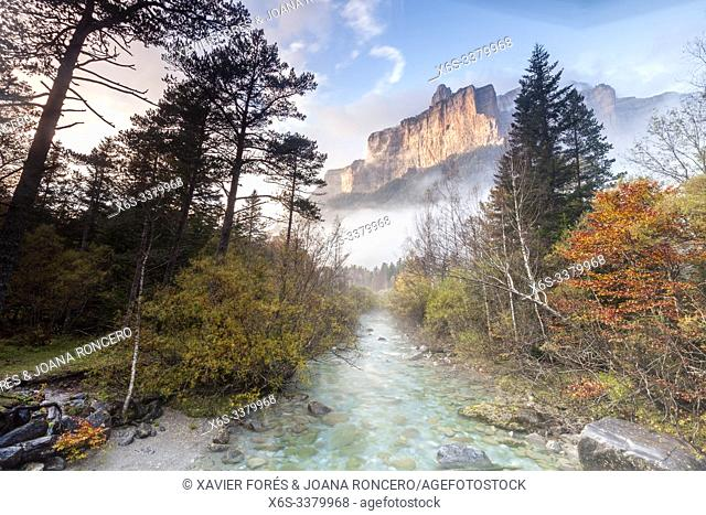 Tozal del Mallo peak and Arazas river, Ordesa Valley, National Park of Ordesa and Monte Perdido, Huesca, Spain