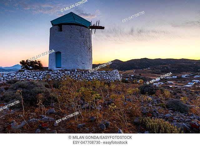 Old windmill near Chora village on Kimolos island in Greece.