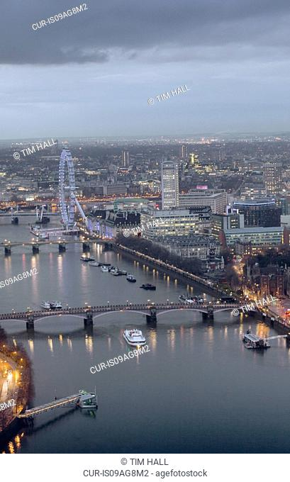 Aerial view of The Thames and London Eye at sunset, London, UK
