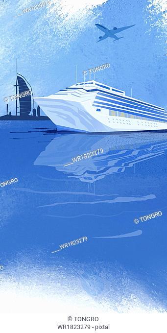 a big cruise ship sailing in Dubai