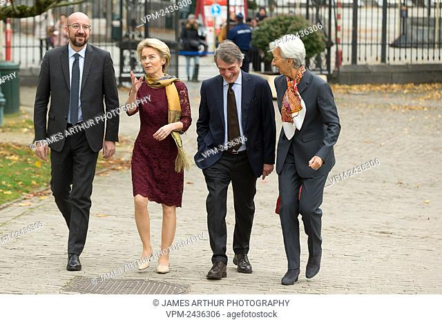 European Council President Charles Michel, New European Commission President Ursula Von der Leyen, David Sassoli and European Central Bank President Christine...