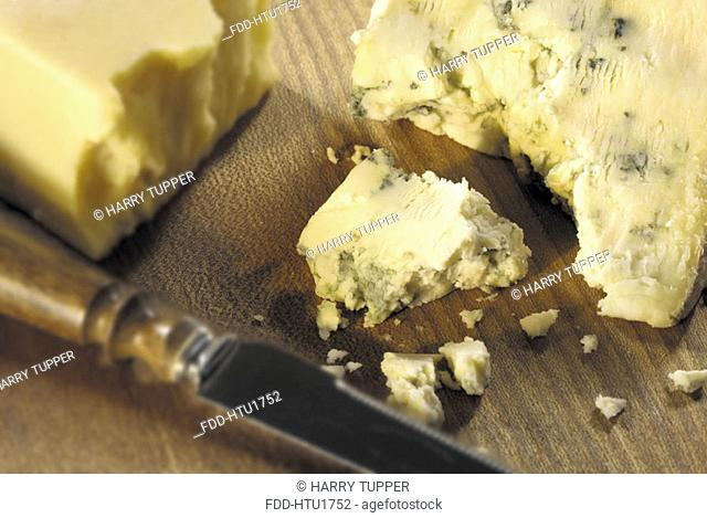 Cheese on wood board