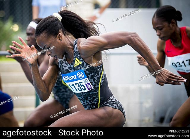 Belgian athlete Cynthia Mbongo Bolingo pictured in action during the 100m race, at the 'Meeting International de Nivelles' (Meeting EAP) athletics meeting
